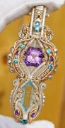 Sterling Silver And14k Gold Amethyst Center Bluetopaz Moons 4 Apatite 4 Amethyst