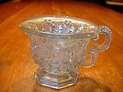 Rare Antique 19thc French Lacy Flint Glass Water Handled Cup C1830-40