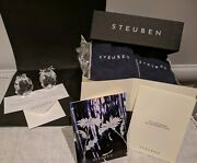 2 Steuben Crystal Ltd Edition Bear + Bull Figural Hand Coolers Signed, New Box