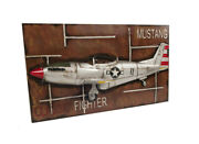 Framed 1943 Mustang P-51b Classic Fighter 3d Metal Model 43 Airplane Wall Decor