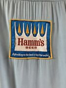 Vtg 60's Loop Collar Pin Button Embroidered Patch Hamm's Beer Bowling Shirt