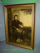 Antique American Nettie Illoway Gentleman Woven Cane Chair Oil Painting Sothebys