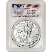 2020-w American Silver Eagle - Pcgs Ms70 - First Strike Red Flag Label