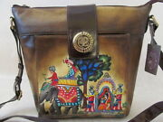 249 Sharif Leather Hand Painted Indian Wedding Print Bag Purse - Nwt