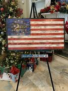 Framed Betsy Ross American Flag With 2nd Amendment In 13 Stars Lightly Torched