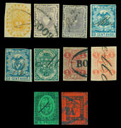 Colombia 1866 Coat Of Arms 5c - 10p Complete Set + Var. Scott 45-52 Used Rare