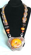 19c Tibetian Ornate Ambercoralturquoiseagate In Sterling Silver Necklace