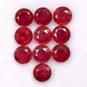 Natural Red Ruby 5 Mm Round Cut Faceted Loose Gtl Certified Gemstone Lot Gf