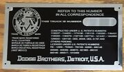 Dodge Brothers Truck Data Plate Vin Id Pre-chrysler Corp 1918 -36 I Make In Us