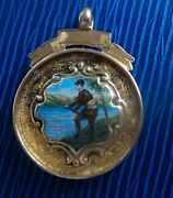 9ct Yellow Gold And Enamel Medal Watch Fob - Fishing Or Angling 1924 Not Engraved