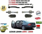 For Lexus Ls400 1994- 2x Inner 2x Outer Track Tie Rack Steering Rod End + Boots