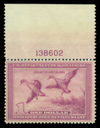 Us 1938 Hunting Permit Stamps Pintail Drake 1 Violet Sc Rw5 Mnh Plate Single