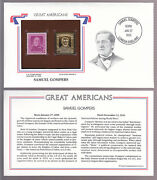 Samuel Gompers 1950 Stamp On Cover Great Americans With 22 Kt Gold Replica
