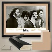 44wx32h The Beatles Fab Four By Apple Records - Double Matte Glass And Frame