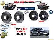 For Bmw 330i E91 Estate 05-11 Front And Rear Performance Brake Disc Set + Pads Kit