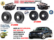 For Audi A3 2.0 Sb 2012-on Front And Rear Performance Brake Discs Set + Pads Kit