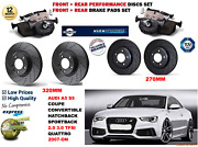 For Audi S5 3.0 Coupe 2016- Front And Rear Performance Brake Discs Set + Pads Kit