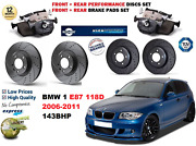 For Bmw 118d E87 2006-2011 Front Rear Performance Drilled Brake Discs + Pads Kit
