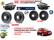 For C3 Cab 1.6 Pluriel 03-on Front And Rear Performance Brake Discs Set + Pads Kit