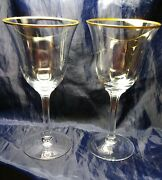 2 Water Goblet 7 1/2 Stems Glass Lenox Clear Hayworth Gold Trim Mint Condition