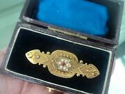 Etruscan 9ct Gold Ruby And Pearl Brooch / Mourning Or Sweetheart Hair Locket 1900