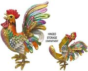 Large Rooster Jeweled Trinket Box With Crystals, By Rucinni