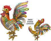 Large Rooster Jeweled Trinket Box With Crystals By Rucinni