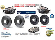 For Seat Altea 04-on Front Rear Performance Drilled Brake Discs Set + Pads Kit