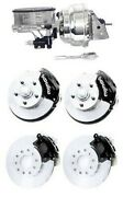 Wilwood Black Front And Rear Disc Brake Kit W/ Chrome Booster And Master Cylinder