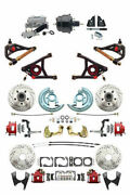 A F X Body Gm Red Drilled And Slotted Disc Brake Kit Control Arms And Black Booster