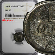 Norway Haakon Vii Iron 1918 1 Ore Ngc Ms63 Wwi Issue Scarce High Grade Km 367a