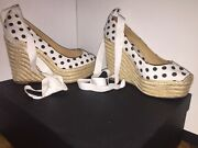 Christian Louboutin Stunning Comfy And Stable Classic White Polka Dot Wedges Wow