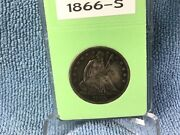 1866-s Liberty Seated Half Dollar - Extremely Fine - In Bcw Slab - Variety 4