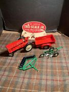 Tru-scale Tractor Vintage With Trailer And Accessories Used Red Green
