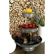Rustic Farmhouse Metal Serving Tray 3-tier Stand Distressed Hammered, Top Handle