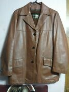 Vintage 1970s Sears The Leather Shop Brown Lined Leather Jacket Menand039s Size 42