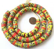 Ghana Old Venetian Antique Yellow And Red Banded Millefiori Glass Trade Beads
