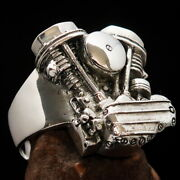 Excellent Crafted Sterling Silver Menand039s Ring Panhead Engine Good Details