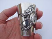 Extremely Rare Authentic Original Chinese Zeewo Silver High Relief Dragon Cup 🐉