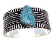 Ron Bedonie Number Eight Turquoise Filed Stamped Silver Navajo