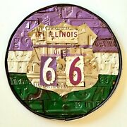 License Plate Art Route 66 Old Tag Original Artwork Chicago Artist Man Cave Gift