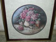 Home Interiors Homco Vase Of Pink Roses Book Glasses Clock Signed Jan Anderson
