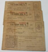 3 Sequential World War Ii Ww2 War Ration Book No. 3 With Stamps Arkansas