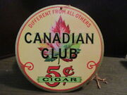 Canadian Club 5andcent Cigar - Nos Original Double Sided Hanging Cardboard Sign 1930s