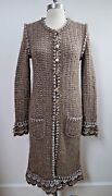 Taupe And Silver Metallic Knit Sweater Jacket Coat Size 38 Worn Once
