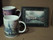 A Set Of Coffee Cups Mugs And A Small Picture A Thomas Kinkade Collection 2001