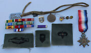 Vintage Mixed Unitsed States Military Lot Ribbons Patches Medals Dog Tag Vietnam