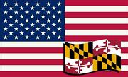 5 X 3 America And Maryland Flag Magnet Vinyl Patriotic Car Decal Vehicle Magnets