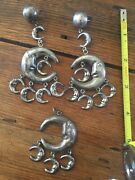 Taxco Mexico Signed Set Celestial Man In The Moon Earrings And Pendant 52 Grams