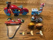 Lot Of 6 Tin Toys Wind Up And Friction Motorcycle Red, Ice Cream Man, Cat, Chicken